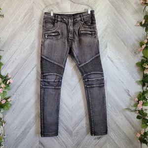 "Balmain Mens Moto Biker Jeans Grey Washed Size 32"""